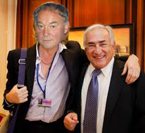 "In this authentic, undoctored photo, Marco Pervert (pronounced ""Pair-vair"") embraces his new benefactor, fellow Frenchman Dominique Strauss-Kahn at the IMF. The two later celebrated their partnership in the traditional French way: stripping naked, covering their genitals in chocolate sauce and chasing young women around the Eifel Tower."