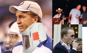 "Peyton Manning was publicly seen wearing this giant neck brace at team functions, whimpering about how his neck ""hurt really freaking bad."" However, Manning was photographed the same day enjoying Cuban cigars and partying with a rock band. According to Manning's lawyer, those are just people who happen to look like Peyton Manning or are Photoshop forgeries."
