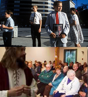 "To the disappointment of Jehovah's Witness members (top), Jesus Christ returned to Earth (bottom) simply to give props to Fox News' coverage of the ""War on Christmas"" and not to confirm the religious group's theory that he would exterminate the rest of mankind."