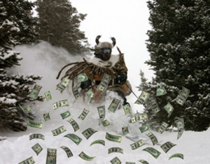 "According to Steamboat Ski Resort owner Intracourse, this picture of Ullr the Snow God was taken of him in Pioneer Ridge during the epic snow day of Feb. 20, 2012. The company believes he was plowing through some ""powder cashes"" that were the result of his approval of the recent lift-ticket price hikes."