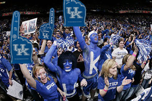 "Building off its successful basketball blueprint, the University of Kentucky announced that it will only offer students a chance to attend the school for a maximum of two years, thus taking the pressure off of any basketball player suffering from the not-likely-to-make-the-NBA label of ""senior."" One of the most popular new non-NBA Finishing School Degree is ""Big Styrofoam Hand Waving,"" considered a potentially booming industry in the new economy."