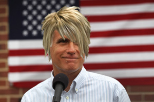 "In a sign of solidarity with the boy Mitt Romney allegedly pinned down and cut his hair, the presumptive presidential candidate has matched the youth's ""offending hairstyle,"" dying it blond and letting it hang down over one eye. ""Do I really have to do this?"" Romney was heard asking an adviser. ""I feel like a total fag."""