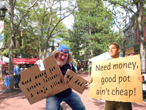 "A longtime Pearl Street panhandler known as ""Grizzle"" (left) was recently ticketed for not having the required panhandling permit and forced to leave town. Brett Whiteman (right), a finance major at CU who blew this month's allowance on a kick-ass toga party, acquired the proper credentials by having wealthy parents back near Boston who fully paid for his college tuition."